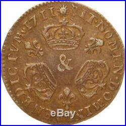 L1936 TRES RARE 1/10 ecu Louis XIV 3 couronnes 1711 & Aix Argent Silver