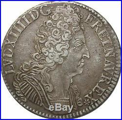 L3116 RARE R2 Ecu Louis XIV 3 couronnes 1709 C Caen Argent Silver Quasi SUP