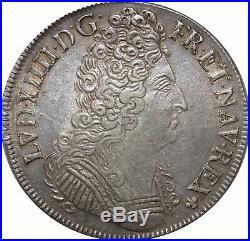 L3119 RARE R4 Ecu Louis XIV 3 couronnes 1709 E Tours Argent Silver TTB++
