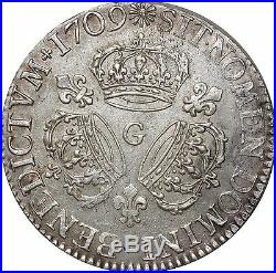L3120 RARE R3 Ecu LouisXIV 3couronnes 1709 G Poitiers ArgentSilver Quasi SUPERBE