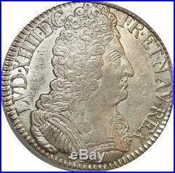 L3124 RARE R4 Ecu Louis XIV 3 couronnes 1709 O Riom Argent Silver SUPERBE