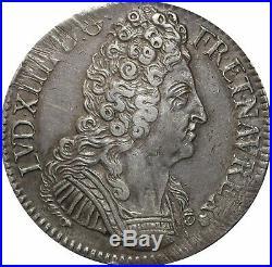L3136 RARE R3 Ecu Louis XIV 3 couronnes 1710 V Troyes Argent Silver Quasi SUP
