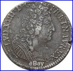 L3149 RARE R3 Ecu Louis XIV 3 couronnes 1712 CC Besançon Flambeau Argent Silver