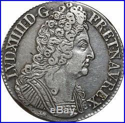 L3154 RARE R3 Ecu Louis XIV 3 couronnes 1712 T Nantes grand coeur Argent Silver
