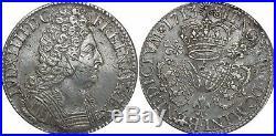 L3158 RARE Ecu Louis XIV 3 couronnes 1713 A Paris 2eme Sem Argent Silver