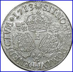 L3162 RARE R3 Ecu Louis XIV 3 couronnes 1713 E Tours Argent Silver SUP