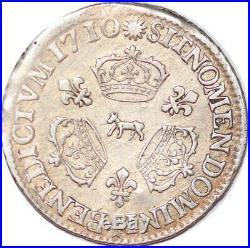 L3198 RARE R4 1/10 Ecu Louis XIV 3couronnes 1710 Pau Bearn Vachette ArgentSilver