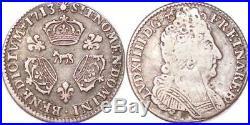 L3232 RARE R3 1/10 Ecu Louis XIV 3couronnes 1713 Pau Bearn Vachette ArgentSilver