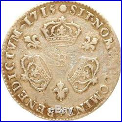 L3235 RARE R3 1/10 Ecu Louis XIV 3 couronnes 1715 B Rouen Argent Silver