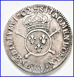 LOUIS XIIII XIV 1/2 DEMI ECU 1702 G Poitiers aux insignes réformation 13,31 gr