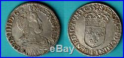 LOUIS XIV 1/2 d'écu mèche longue 1655 Limoges