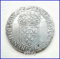 LOUIS XIV 1/2 écu à la cravatte 1679 H