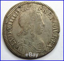 LOUIS XIV 1/2 écu à la mèche longue 1653 E Tours