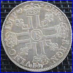 LOUIS XIV 1/4 ECU AUX 8 L 1691 B f. Réf ARGENT