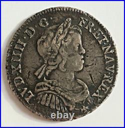 LOUIS XIV 1/4 d'écu à la mèche courte 1645 D Lyon en argent
