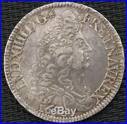 LOUIS XIV ECU AUX 8 L 1690 A f. Réf ARGENT