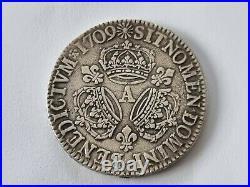 LOUIS XIV ÉCU AUX TROIS COURONNES 1709 A Très bel état