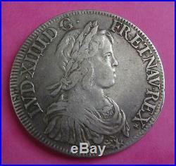 LOUIS XIV ECU MECHE COURTE en argent daté de 1644 A