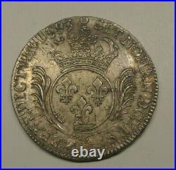 LOUIS XIV ECU PALMES 1693 A TTB a SUP