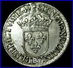 LOUIS XIV ECU méche longue 1648 N SUP 48000 exmpl petit tirage! RARE RARE