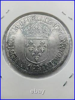 LOUIS XIV- Ecu a la meche longue 1648 Atelier T