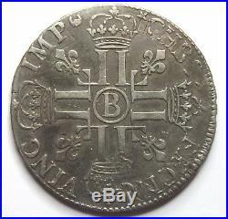 LOUIS XIV Ecu aux 8 L 1691 B Rouen
