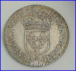 LOUIS XIV LE GRAND OU LE ROI SOLEIL 1/2 Écu à la mèche longue 1648 F Angers R4
