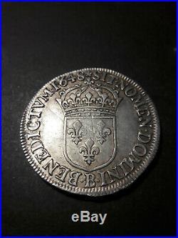 LOUIS XIV LE GRAND OU LE ROI SOLEIL Écu a la méche longue 1648 B Rouen