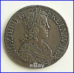 LOUIS XIV LE GRAND OU LE ROI SOLEIL Écu à la mèche longue 1653 Troyes
