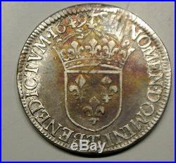 LOUIS XIV RARE ECU MECHE LONGUE 1649 T = NANTES COTE 630 EURO TTB(17663exmpl)