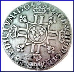 LOUIS XIV RARE Quart d'écu Surfrappé en 1704 à Rennes