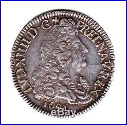 LOUIS XIV RARE SUP ECU AU 8 L 1691 N patine vieux médaillé POIDS 27GR07