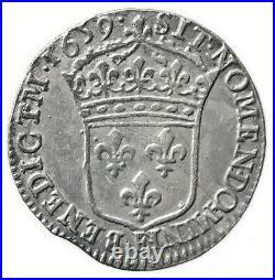LOUIS XIV Rare douzième d'écu 1659, Tours (Légende fautée BENEDICTM)