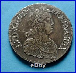 LOUIS XIV beau portrait ECU méche longue 1651 bordeaux petit tirage