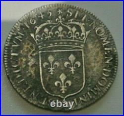 LOUIS XIV demi ècu mèche courte 1645 A ROSE RARE