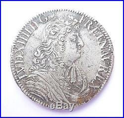 LOUIS XIV écu à la cravatte dit du parlement 1679 X rare