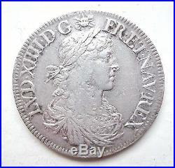 LOUIS XIV écu au buste juvénile 1666 A
