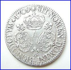 LOUIS XIV écu aux 3 couronnes 1709 A