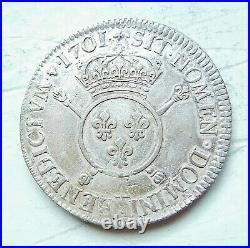 LOUIS XIV écu aux insignes 1701 A PARIS