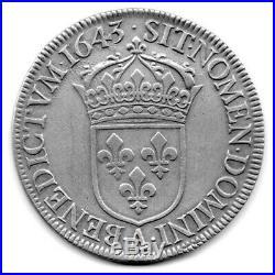 LOUIS XIV écu mèche courte 1643 A PARIS point après date atelier LOUVRE TTB+/SPL