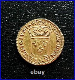 LOUIS XIV louis d'or à l écu 1690 POITIERS