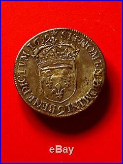 LOUIS XIV superbe demi écu 1659 9 au buste juvenile, très RARE, coté 300 TTB