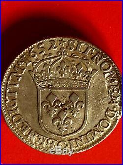 LOUIS XIV très bel demi écu 1652 C à la mèche longue
