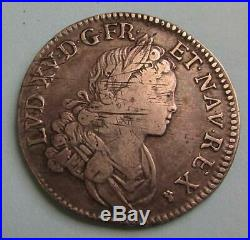 LOUIS XV 1/2 écu de Navarre en argent de 1718 D- Module très rare