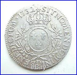 LOUIS XV écu aux lauriers 1732 D