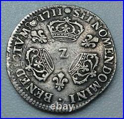 Louis XIV. 1/10 d'écu aux 3 Couronnes 1711 Z Grenoble RARE
