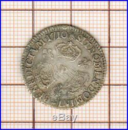 Louis XIV 1/10 è dixième d'écu aux trois couronnes 1710 P Dijon