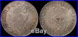 Louis XIV 1/2 Demi ecu au Buste juvénile 1672 Paris Splendide NGC MS63