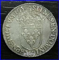 Louis XIV 1/2 Ecu À La Meche Longue 1650 H La Rochelle Qualité