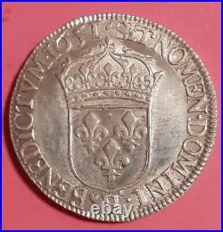 Louis XIV 1/2 Ecu A La Meche Longue 1651 H La Rochelle G 169